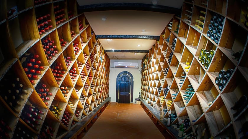 The impressive Wine Cellar at Curtain Bluff